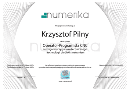 Certyfikat Kurs CNC Wzór PL Hologram
